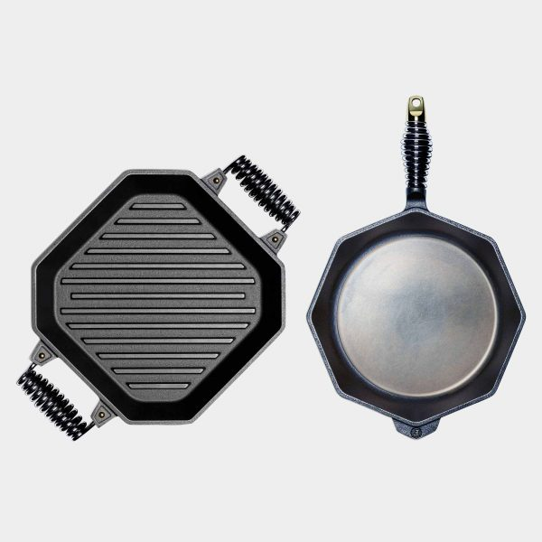 "12"" Cast Iron Skillet and 12"" Cast Iron Grill Pan"