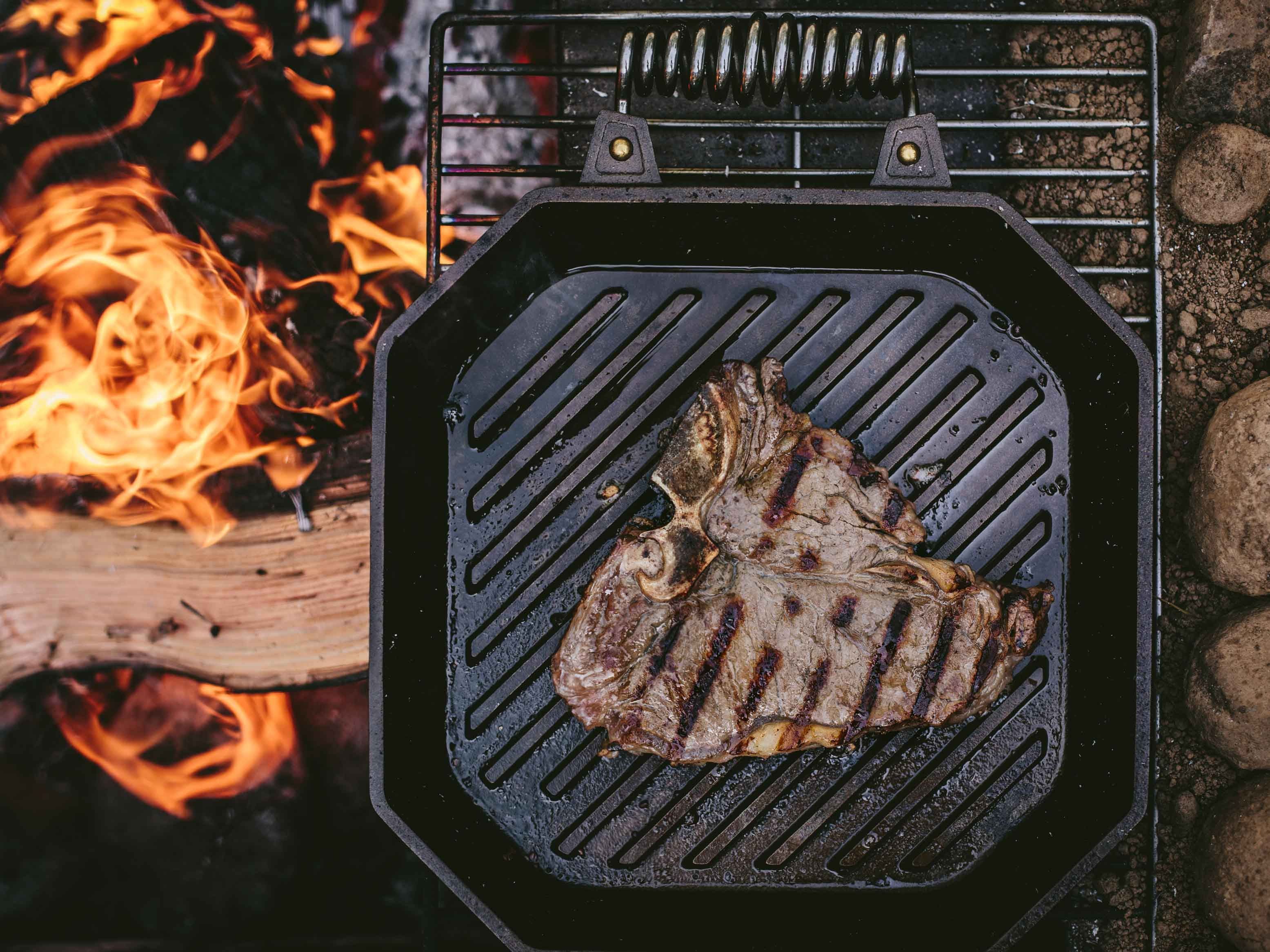 FINEX Cast Iron Grill Pan over the coals