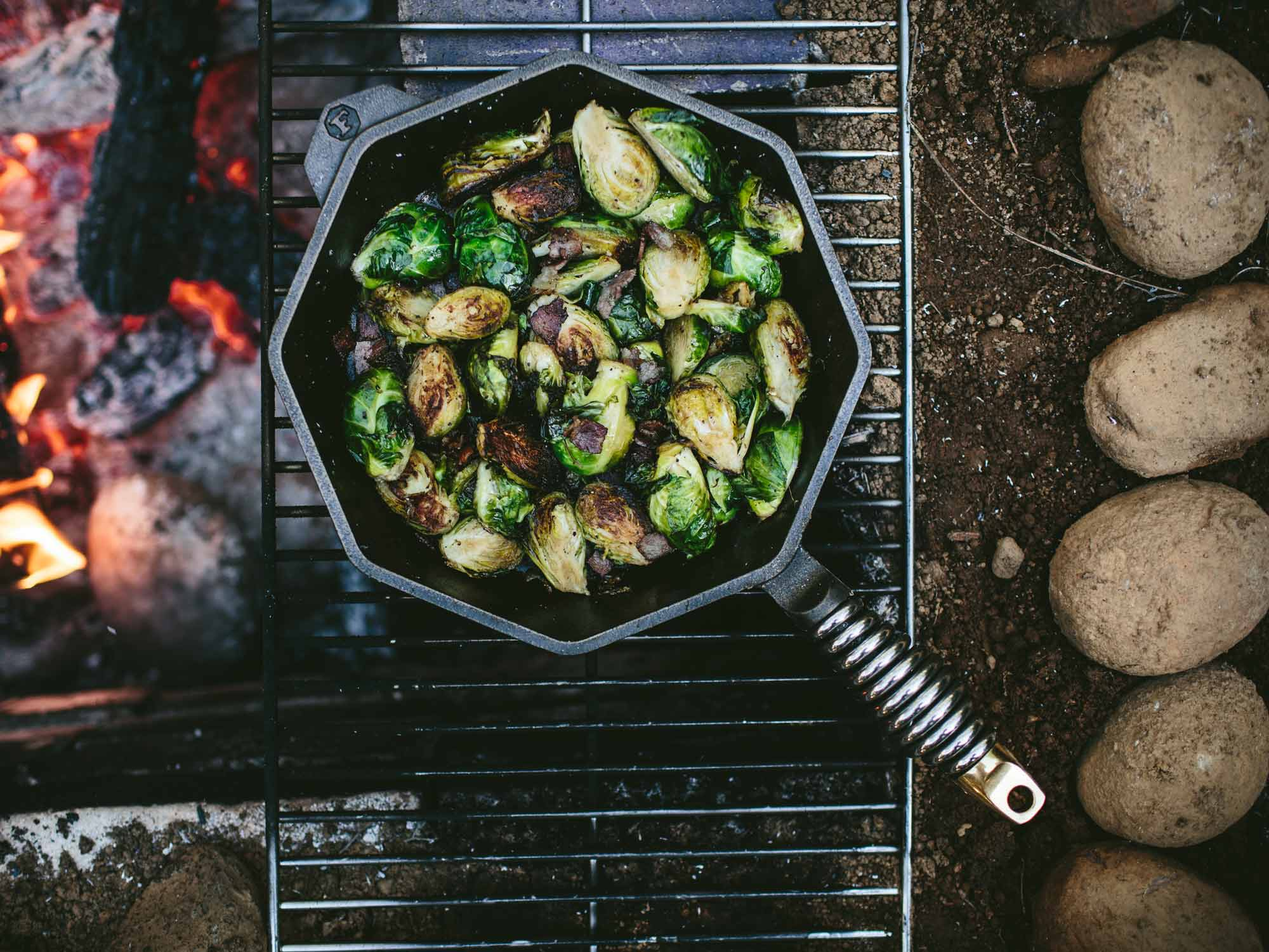 """12"""" cast iron skillet cooking brussel sprouts"""