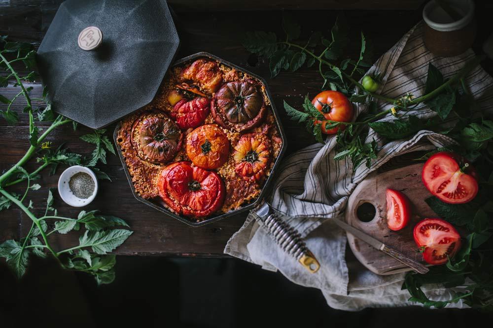 FINEX cast iron skillet - stuffed tomatoes
